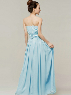 Column Sweetheart Strapless Ribbons Floor Length Light Sky Blue Bridesmaid Dresses