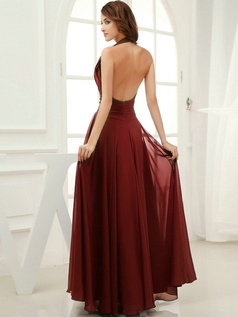 Column Chiffon Halter Floor-length Draped Burgundy Bridesmaid Dresses