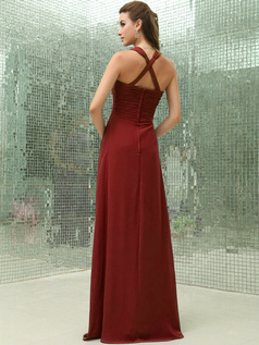 Column Chiffon V-neck Floor-length Ruched Burgundy Bridesmaid Dresses with Cross Straps