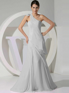 A-line Chiffon One Shoulder Tiered Draped Silver Bridesmaid Dresses