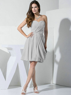 A-line Chiffon Sweetheart Ruffles Wrap Pleats Silver Bridesmaid Dresses