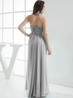 Column Chiffon Halter Floor-length Pleats Silver Bridesmaid Dresses