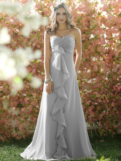 Ruffles A-line Chiffon Sweetheart Floor-length Draped Silver Bridesmaid Dresses
