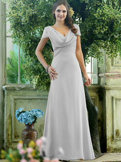 Modest A-line Chiffon Short Sleeves Cowl Neck Ankle-length Draped Front Silver Bridesmaid Dresses