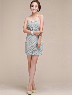 Sheath Ruched Tube Top Strapless Short Silver Bridesmaid Dresses
