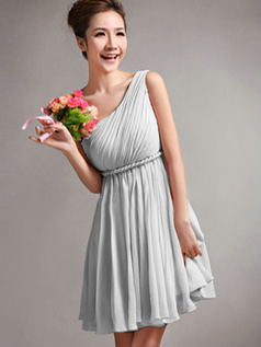 A-Line One Shoulder Draped Short Silver Bridesmaid Dresses