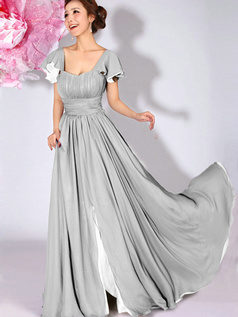 A-Line Bateau Draped Falbala Sleeves Floor Length Silver Bridesmaid Dresses