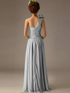 A-Line One Shoulder with Flower Floor Length Wrap Pleats Silver Bridesmaid Dresses
