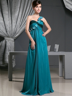 A-line Chiffon One Shoulder with Flowers Sweep Train Blue Bridesmaid Dresses