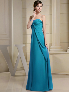 Column Chiffon Ruched Sweetheart Floor-length Blue Bridesmaid Dresses