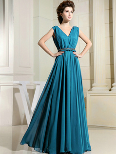 Column Chiffon V-neck Floor-length Draped Blue Bridesmaid Dresses