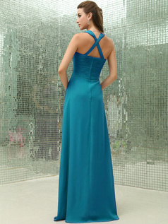 Column Chiffon V-neck Floor-length Ruched Blue Bridesmaid Dresses with Cross Straps