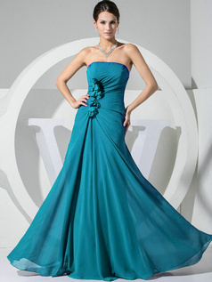 A-line Chiffon Floor Length Ruched Blue Bridesmaid Dresses with Flowers
