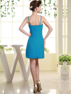 Sheath Chiffon Tube Top Spaghetti Straps Ruffle Short Blue Bridesmaid Dresses