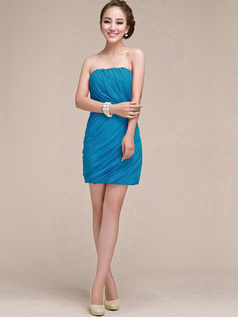 Sheath Ruched Tube Top Strapless Short Blue Bridesmaid Dresses