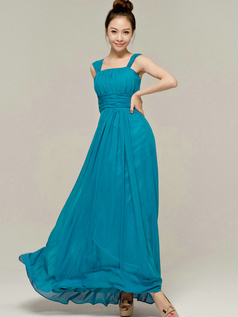 Column Tube Top Straps Floor length Ruched Blue Bridesmaid Dresses