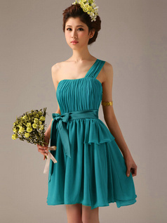 A-Line One Shoulder Bowknot Sash Blue Pleats Short Bridesmaid Dresses