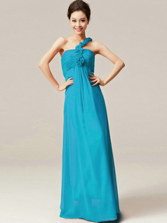 Column One Shoulder with Flowers Floor Length Ruched Blue Bridesmaid Dresses