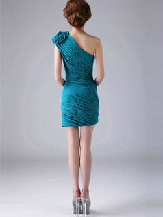 Sheath One Shoulder with Flower Short Ruched Blue Bridesmaid Dresses