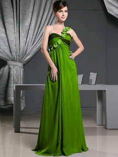 A-line Chiffon One Shoulder with Flowers Sweep Train Green Bridesmaid Dresses