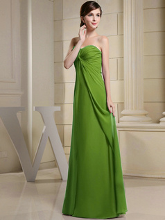Column Chiffon Ruched Sweetheart Floor-length Green Bridesmaid Dresses
