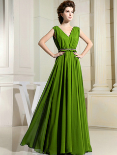 Column Chiffon V-neck Floor-length Draped Green Bridesmaid Dresses