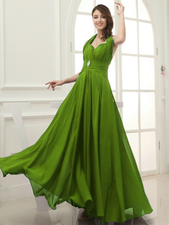 Column Chiffon Halter Floor-length Draped Green Bridesmaid Dresses