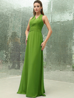 Column Chiffon V-neck Floor-length Ruched Green Bridesmaid Dresses with Cross Straps