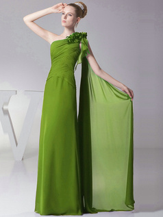 Column One shoulder with Flowers Floor Length Green Bridesmaid Dresses