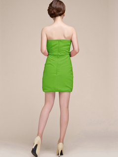 Sheath Ruched Tube Top Strapless Short Green Bridesmaid Dresses