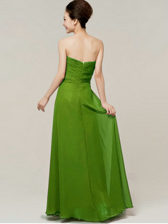 Column Sweetheart Floor Length Strapless Draped Green Bridesmaid Dresses
