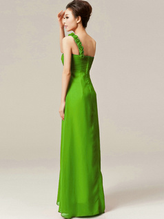 Column One Shoulder with Flowers Floor Length Ruched Green Bridesmaid Dresses