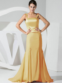 Mermaid Chiffon Straps Gold Bridesmaid Dresses