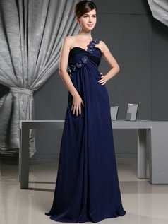 A-line Chiffon One Shoulder with Flowers Sweep Train Dark Navy Bridesmaid Dresses