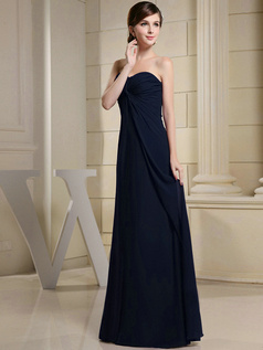 Column Chiffon Ruched Sweetheart Floor-length Dark Navy Bridesmaid Dresses