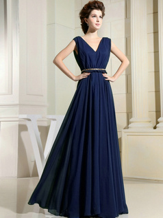 Column Chiffon V-neck Floor-length Draped Dark Navy Bridesmaid Dresses