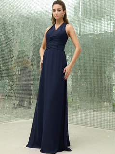 Column Chiffon V-neck Floor-length Ruched Dark Navy Bridesmaid Dresses with Cross Straps