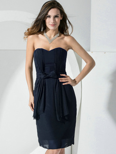 Sheath Chiffon Sweetheart Bowknot Sash Ruffles Dark Navy Bridesmaid Dresses