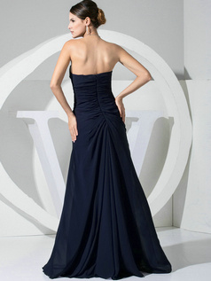 A-line Chiffon Floor Length Ruched Dark Navy Bridesmaid Dresses with Flowers