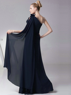 Column One shoulder with Flowers Floor Length Dark Navy Bridesmaid Dresses