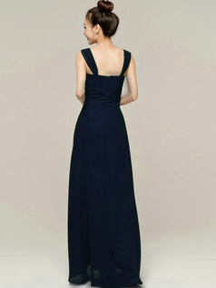 Column Tube Top Straps Floor length Ruched Dark Navy Bridesmaid Dresses