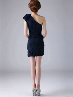 Sheath One Shoulder with Flower Short Ruched Dark Navy Bridesmaid Dresses