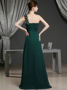 A-line Chiffon One Shoulder with Flowers Sweep Train Dark Green Bridesmaid Dresses