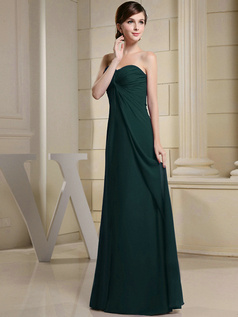 Column Chiffon Ruched Sweetheart Floor-length Dark Green Bridesmaid Dresses