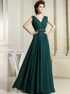Column Chiffon V-neck Floor-length Draped Dark Green Bridesmaid Dresses