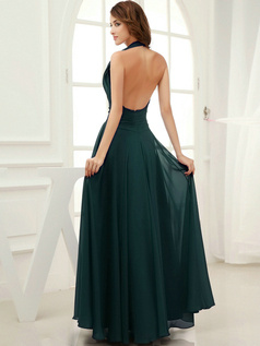 Column Chiffon Halter Floor-length Draped Dark Green Bridesmaid Dresses