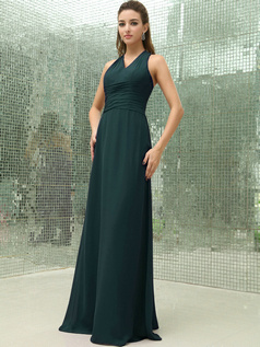 Column Chiffon V-neck Floor-length Ruched Dark Green Bridesmaid Dresses with Cross Straps