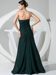 A-line Chiffon Floor Length Ruched Dark Green Bridesmaid Dresses with Flowers