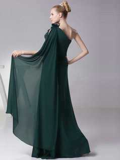 Column One shoulder with Flowers Floor Length Dark Green Bridesmaid Dresses