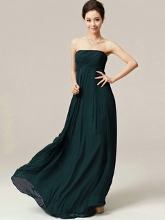 A-Line Floor Length Wrap Pleats Strapless Draped Dark Green Bridesmaid Dresses